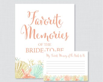 Favorite Memories of the Bride To Be Activity - Printable Beach Themed Bridal Shower - Coral Nautical Bridal Shower Memory Activity - 0012-C