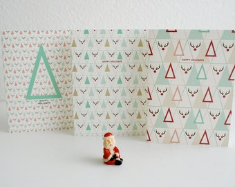 Christmas Card Set / Triangle / Plaid / Rudolf / A6 /A7