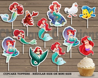 The Little MermaidCupcake Toppers, Ariel Die Cuts, Baby Shower/Birthday Party Cupcake Toppers