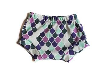 Mermaid Scale Shorties-Ocean Baby Girl-Beach Baby-Mermaids-Purple, Teal