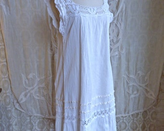 Sleeveless Mexican Cotton and Crochet Dress