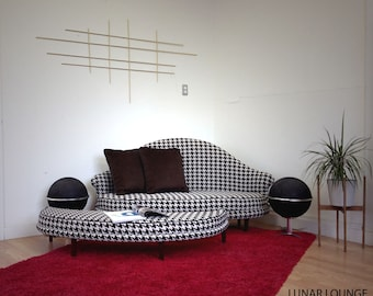 Havana Love Seat and Ottoman -  Mid Century Seating in a Fantastic Hounds-tooth Upholstery  Designed and built by Jonathan Sebastian