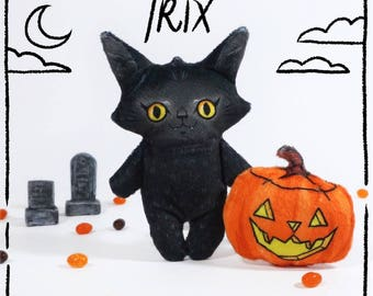 Halloween Trix - black cat stuffed animal doll with spooky pumpkin pal
