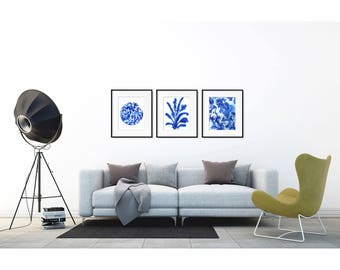 Blue Art Print Set of 3. Wall art set.  Ink art. Modern home decor wall art. Nature art. Blue print set. Set of 3 prints. Leaf print