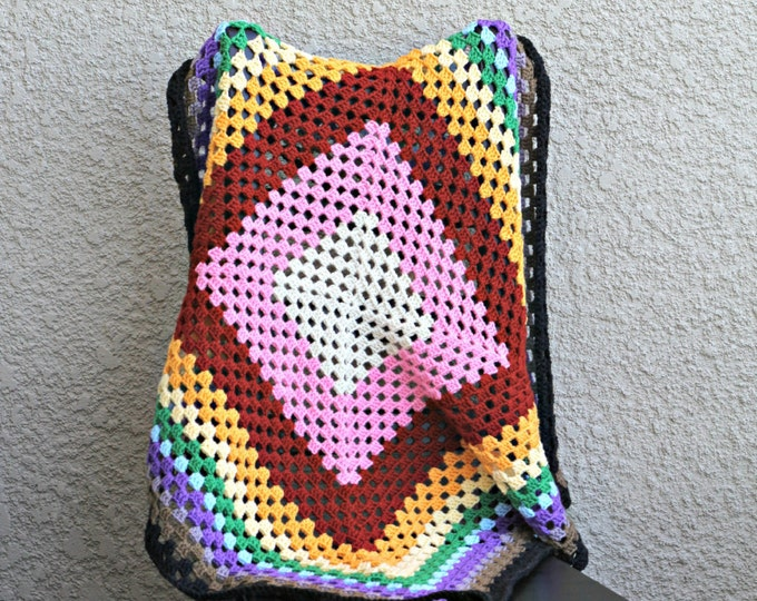 Crochet baby blanket, square baby blanket, rainbow throw, newborn blanket baby shower gift