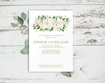 Floral Bridal Shower Invitation, Bridal Shower Invitation Template, Gold Bridal Shower Invitation, Rustic Bridal Shower, Printable, 6063
