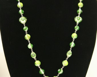 Spring Green Millefiore and Hearts Drop Necklace