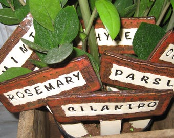 Hand Built Pottery Herb Markers