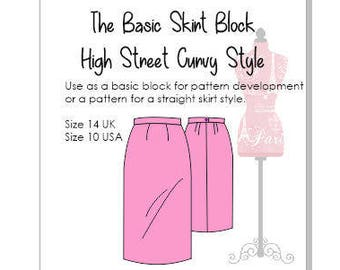 Basic Skirt Block- Drafted To High Street Curvy Measurements - Size 14 UK - Size 10 USA- use as a basic sloper or to make a skirt pattern!