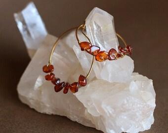 Boucles d'oreilles ambre en laiton