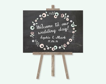Pastel Floral Chalkboard Welcome Wedding Sign