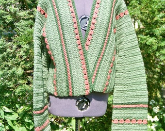 Vintage 1970s Crocheted Sage Green Cardigan Retro One-of-a-Kind