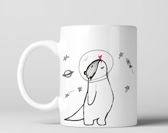 Funny Coffee Mug Otter Mug Space Mug Name Mug Personalized Mug Custom Mug Personalized Gifts Cute Mug Cool Mug Gift For Her Funny Gift