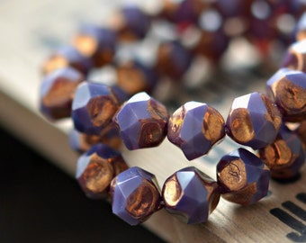 All That Glitters - Czech Glass Beads, Opaline Purple, Metallic Bronze Baroque, Central Cut Rounds 9mm - Pc 10