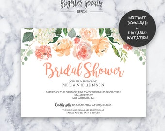 Peach Bridal Shower Invitation | INSTANT DOWNLOAD | Editable PDF| Do It Yourself | Printable