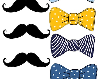 Printable Bow Tie, Printable Mustache, Bow Tie Cut Outs, Bow Tie Baby Shower