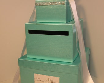 Wedding Card Box Spa Blue /Mint Green 3 tier Gift Card Box Money Box Holder--Customize your color
