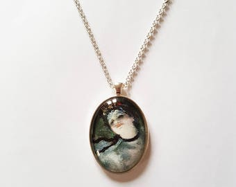 Degas 'Ballet' detail, 30x40mm oval pendant in silver or antique bronze, includes complimentary chain
