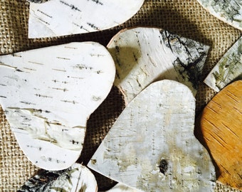 10/50/100 Antique Rustic Vintage birch bark Heart Gift tags Rustic Wedding Favor