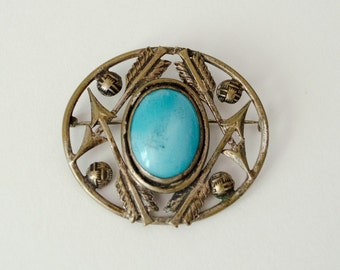 1920s vintage brooch / sterling and turquoise glass Native American arrow brooch
