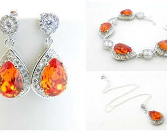 Orange Bridal Jewelry, Wedding Earrings and Bracelet Set, Bridal Earrings and Necklace Set, Bridal Wedding Jewelry, Swarovski Crystal Set