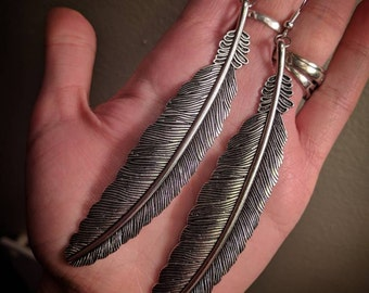 Extra Large Dangle Mixed Metal Silver Colored Feather Earrings With Stainless Steel Ear Hooks