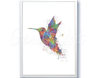 Hummingbird Watercolor Art Print  - Home Living - Animal Painting - Hummingbird Poster - Wall Decor - Home Decor - House Warming Gift