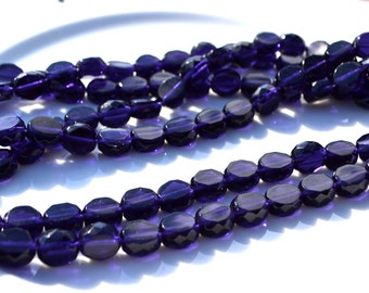 Tanzanite purple 10mm Faceted FIre Polish Coin Beads,  25