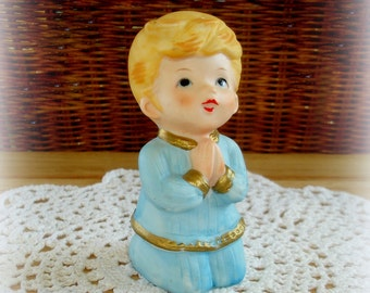Boy in Prayer Figurine Vintage Homco #5211 Young Boy Kneeling with Hands Folded Eyes Upward Porcelain Bisque