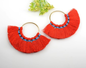 Cotton Tassels, Red Color Multi Tassels in Fan Shape, 2 1/4 x 3 Inch, Tassels for Jewelry Making, Tassel Earrings, Tassel Necklaces