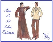 "1970s Vogue 9067 Mens Caftan Jewel Neckline Flared Tunic Top Uncut Vintage Sewing Pattern Size 38 Chest 97cm 38"" Long Sleeve Braid Trim Kint"