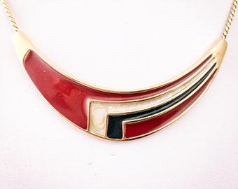 Monet necklace, red and black, gold plated necklace, enamel jewellery, vintage Monet, statement necklace, vintage enamel, 1980s