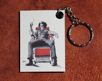 Sweeney Todd Keychains magnet (pen drawing) handmade keyring for small gift