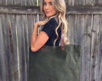 Waxed Canvas Tote Bag with Leather Handles- Navy Green- Free Shipping