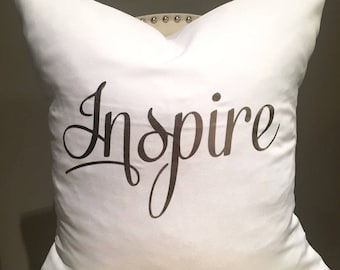 Inspire Pillow Cover, Rose Gold, Housewarming Gift, Cushion Cover, Inspirational Quote, Home Decor, Decorative Pillow, Toss, Best Seller!