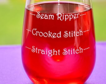 Personalized Engraved Sewers and Quilters Glass, Good Day, Bad Day, Don't Even Ask Glass, Custom Keepsake Gift, Quilters Birthday Gift