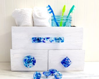 BEACH HOUSE BLUE glass cabinet hardware knobs drawer pull handles handmade unique functional art knob dresser pulls cupboard handle dichroic