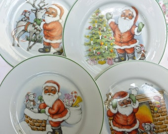 Vintage Christmas Plates,  Night Before Xmas, Set of Four  Holiday Serving  Plates, Santa Claus,  Made in Japan, Holiday Dining Decor