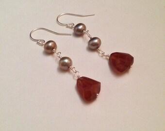Page of Cups Hessonite Garnet Freshwater Pearl Sterling Silver Earrings | Handmade Nickel-Free Gemstone Earrings | Witch Tarot Jewelry
