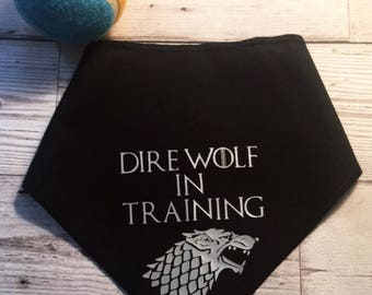 Game of Thrones, GOT, Dire Wolf, Bandana, Pet Bandana, Dog Collar, Dog Collars, Dog Scarf, Dog Bandanas, Dog Clothes, Scarf For Dog
