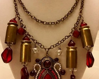SOLD - Red Beaded Bullet Casing Necklace