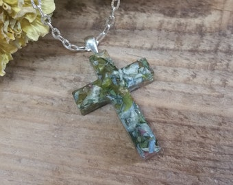 Wedding Memento or Funeral Memorial Keepsake made from your Flower Petals or Pet fur or Cremains - CLEAR SIMPLE CROSS Pendant or Necklace