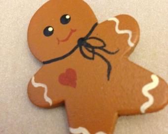 Vintage Gingerbread Person Pin / Brooch