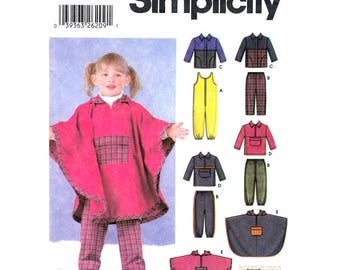 Toddler Sewing Pattern Girls Hooded Poncho Jacket Jumpsuit Pants Top Simplicity 5807 Trousers Cape Girls Size 1/2 1 2 3 4 UNCUT
