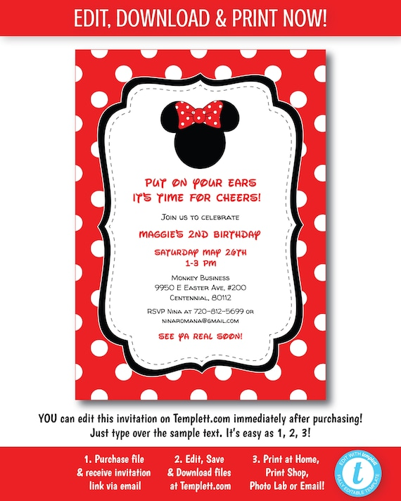 Minnie mouse invitation minnie mouse birthday invitation stopboris