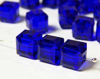 15 Pcs - 8mm Deep Saphire Blue Square Glass Cube Beads - Cube Beads - Cobalt Beads - Blue Cube Beads - Jewelry Supplies
