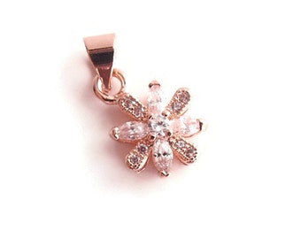 1 Cubic Zirconia (CZ) Flower Pendant, Jewelry Making Supply, Rose Gold Color Brass, clear CZ Pave Set with Bail