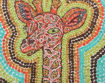 Dot Pointillism, 6x6, Whimsical, giraffe, watercolor paper, unframed, original, pointillist, pointillist artwork, dot art