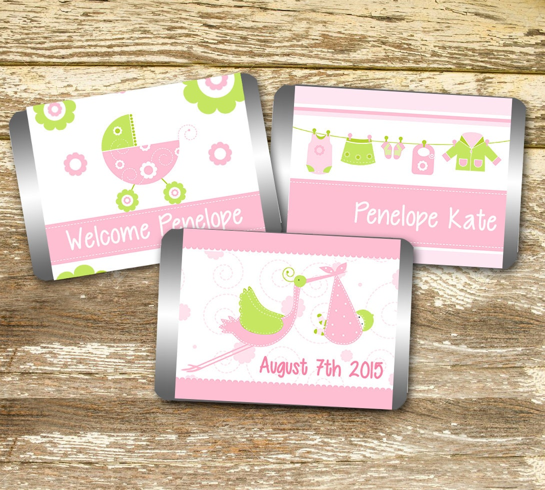 Mini Candy Wrapper Baby Shower Girl Pink Baby Shower Baby