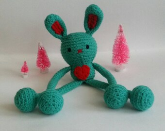 Crochet Bunny, Stuffed Animal Bunny, Plush Bunny, 1st Birthday Gift, Toddler Birthday Gift, Soft Toy Hare, Gifts under 50, Amigurumi Bunny